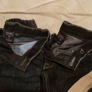 Two prs of Brand new PD&C jeans w / tan ,blk belts